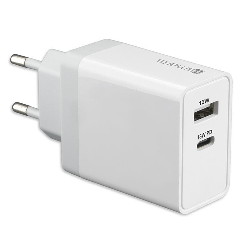 4smarts VoltPlug Väggladdare USB C PD, USB A 30W Vit