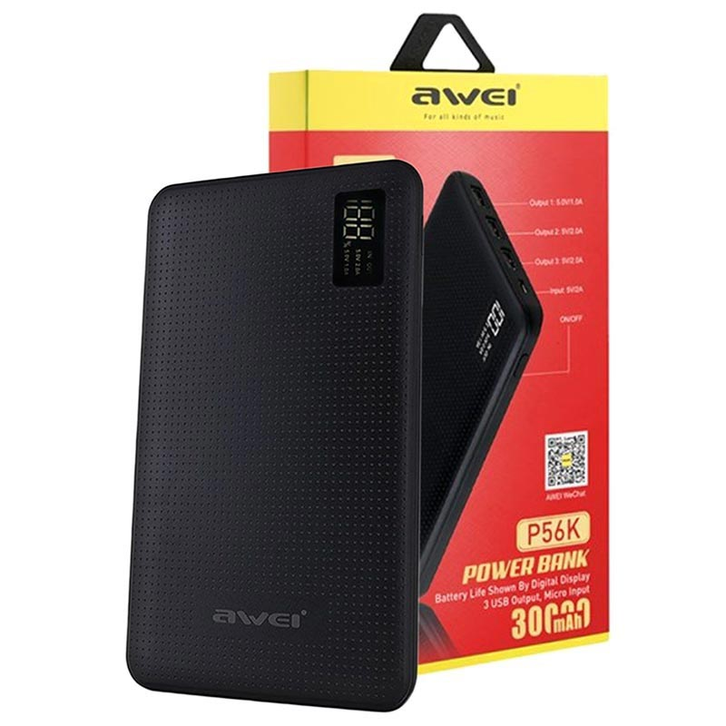 Awei Slim Powerbank P56K m/LED Display - 30000mAh - Svart
