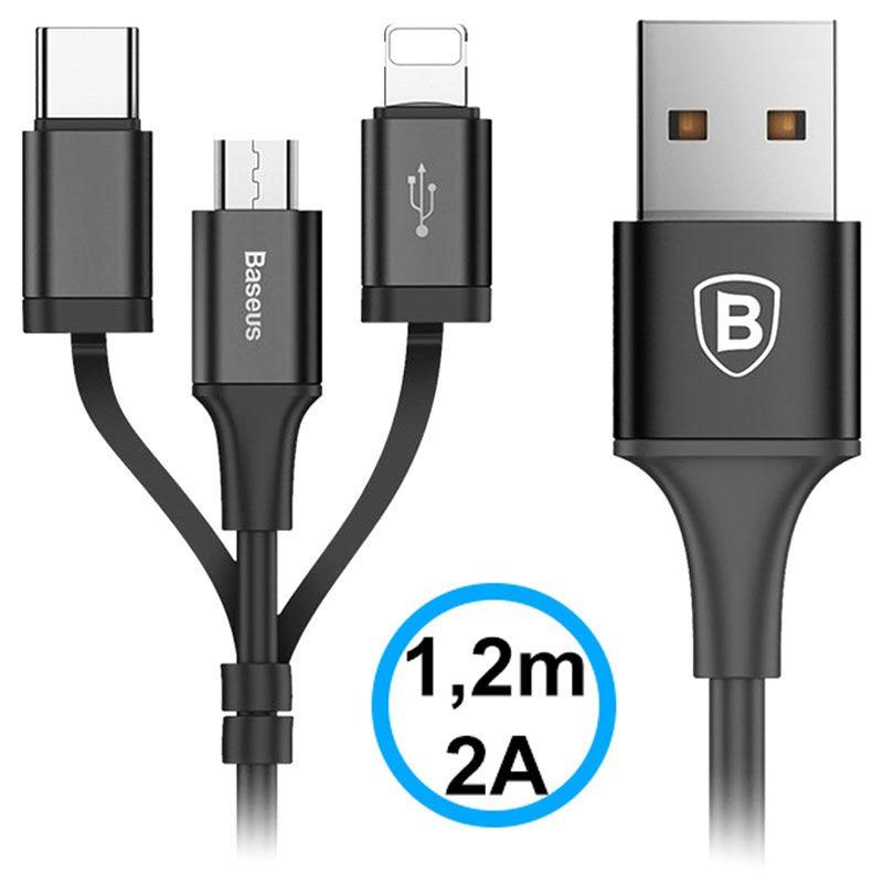 Baseus 3 i 1 USB Kabel Lightning, Typ C, MicroUSB