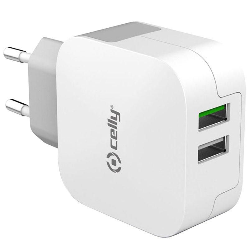 Celly Turbo Dual USB Reseladdare 3.4A Vit