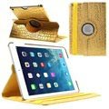 iPad Air Rotary Smart Läder Fodral - Crocodile - Guld