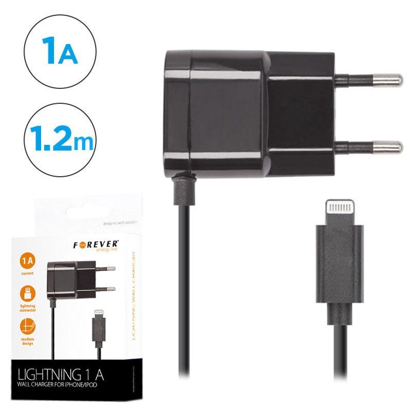 Forever väggladdare & lightning kabel för iPhone, 1A, svart