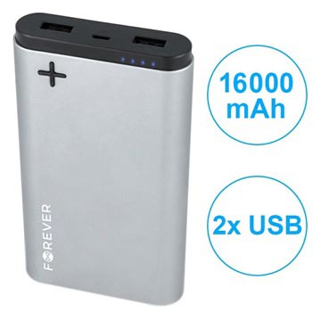 Forever PTB-04L Power+ Dubbel USB Powerbank - 16000mAh - Grå