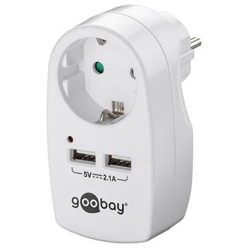 Goobay Safety Vägguttag med Dual USB Port - Vit