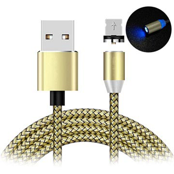 LED Magnetisk Lightning Laddningskabel - iPhone, iPad, iPod - Guld