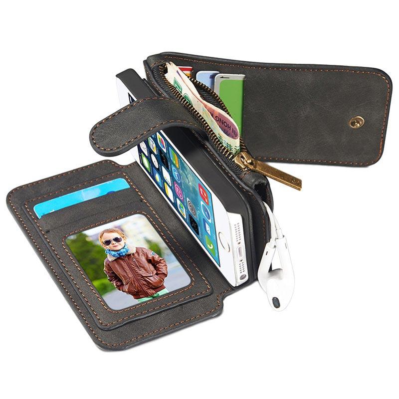 Svart multifunktionellt plånboksfodral i läder från Caseme till iPhone 5 5s  SE. 61ef7d74c2aa1
