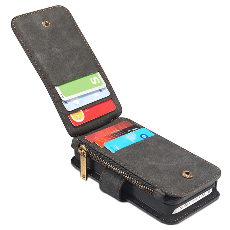 Svart multifunktionellt plånboksfodral i läder från Caseme till iPhone 5 5s  SE 9e9cf9a4044b0