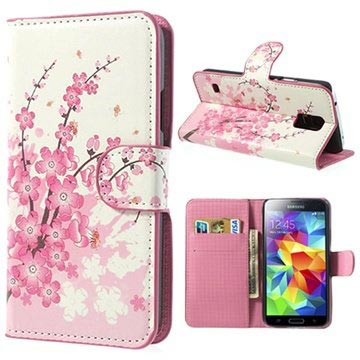 Samsung Galaxy S5 Style Series Plånboksfodral - Rosa Blommor