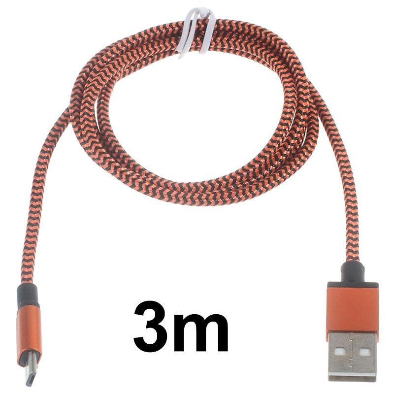 Premium USB 2.0 / MicroUSB Kabel - 3m - Orange