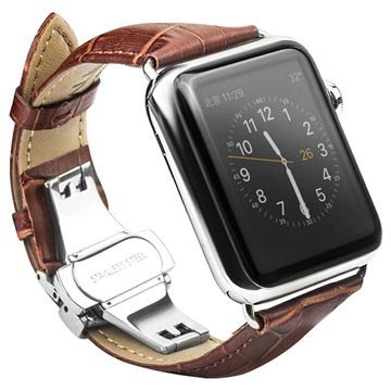 Apple Watch Series 5/4/3/2/1 Qialino Läderarmband - 42mm, 44mm - Brun