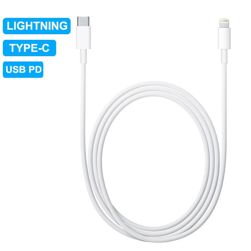 USB PD Type CLightning Laddning & Synk Kabel 1m Vit