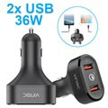 Vinsic VSCC208 Qualcomm Quick Charge 3.0 Billaddare - 2x USB, 6A, 36W
