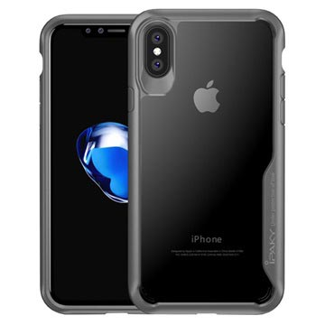 iPhone X / iPhone XS iPaky Clear Hybrid Skal - Grå / Genomskinlig